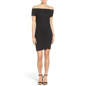 PAM & GELA off the shoulder bodycon ruched dress